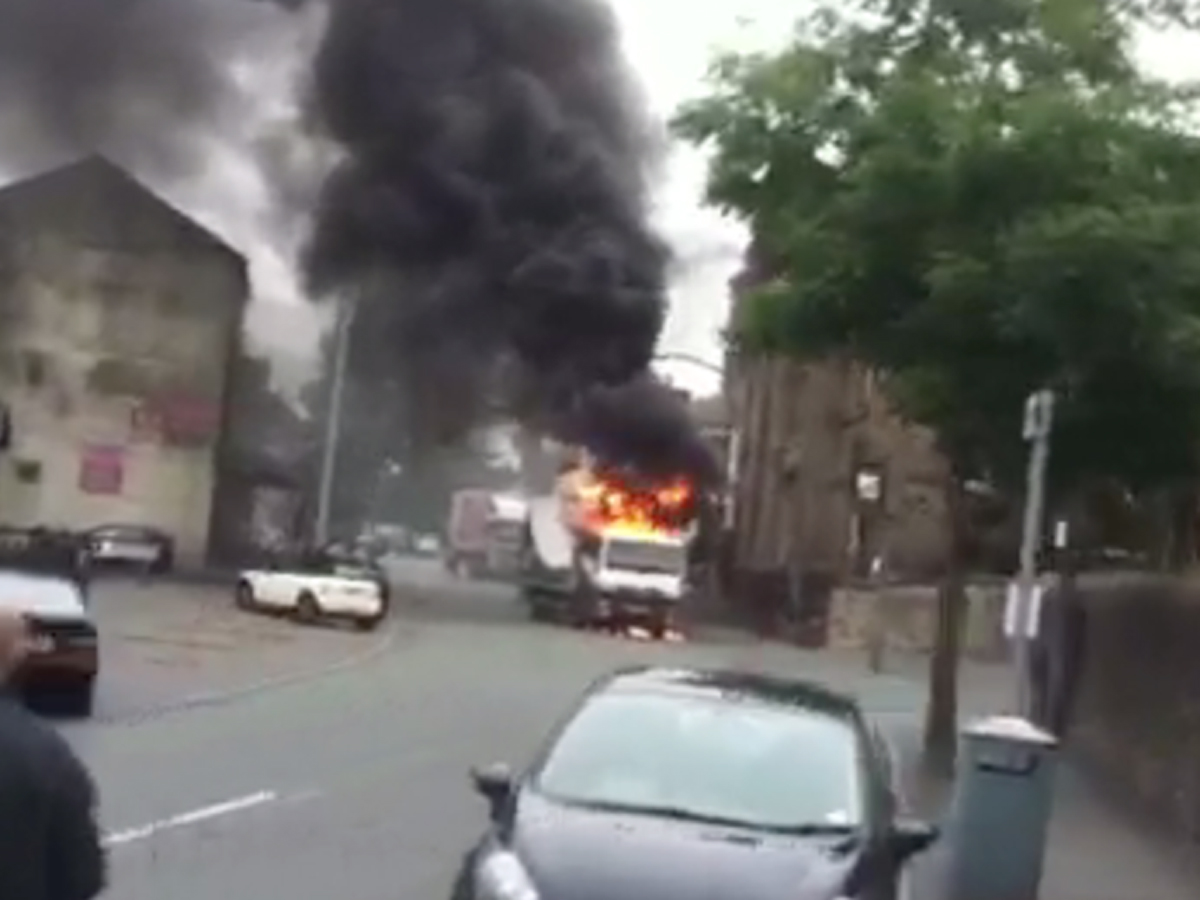 VIDEO: Drama as truck bursts into flames in Darwen