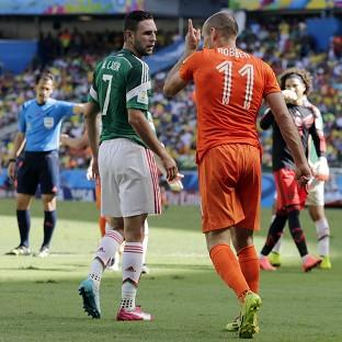 Arjen Robben, right, angered Mexico with his antics (AP)