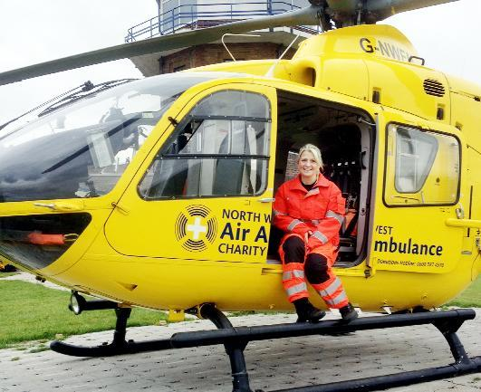 Caroline Pearce with the air ambulance