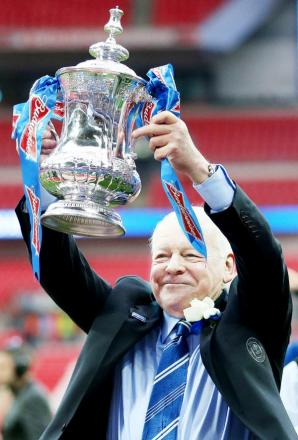 Dave Whelan lifts the FA Cup with Wigan Athletic