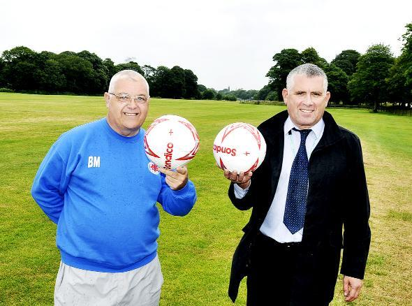 Bill Maynard, chairman of the East Lancashire Football Development Association and Graham Harris, Blackburn with Darwen Borough Council's leisure facilities manager at Pleasington Playing Fields