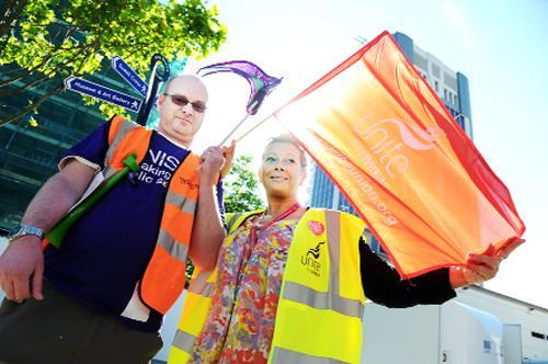 Alan Holden from Unison  and Alison Smith from Unite outside Blackburn Town Hall