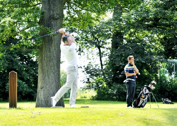 Home course star Jonathan Hurst tees off during the Pleasington Antlers on Sunday