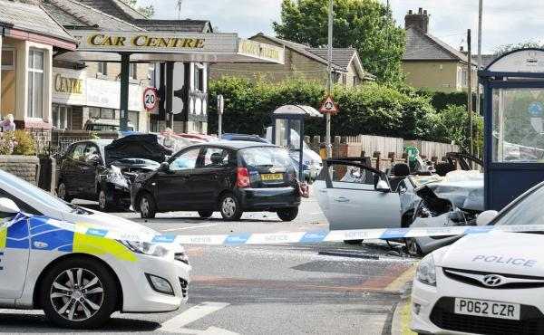 Elderly man taken to hospital after four car smash in Colne