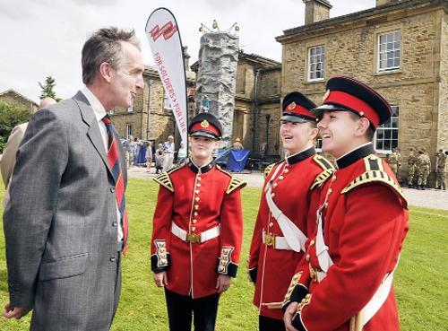 Downham Hall owner The Hon Ralph Assheton chats with members of the Army cadet force