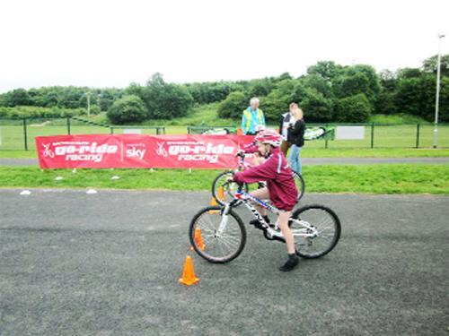 Pupils on the newly opened Steven Burke Cycle Hub where they took part in the East Lancs Primary Schools race