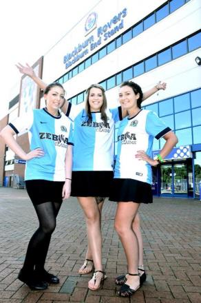 Ewood Park staff Courtney Talbot, Kirsty Logan and Jenna Parkinson model the new kit