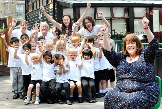 Head teacher Karen Coffey celebrates the outstanding Ofsted report at Lee Royd Nursery School, Accrington