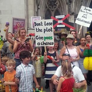 A group of allotment holders protest outside the Royal Courts of Justice over a ruling allowing Watford Borough Council