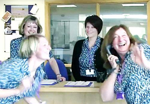 Scenes from the Fisher-More end of term video featuring the staff
