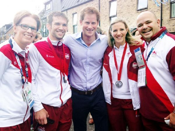Laura Massaro, second from right, is joined in meeting Prince Harry, centre, by (from left) Louise Pickford, Tom Reed and Matt Divall