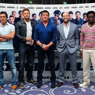 Antonio Banderas, Kellan Lutz, Sylvester Stallone, Jason Statham and Wesley Snipes star together in The Expendables 3