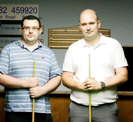Steve Almond (left) beat Peter Doyle in the semi final of the Golden Cue small table competition to book a final place against Wayne Cotterill