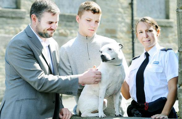 MP Andrew Stephenson, left, and RSPCA inspector Natalie Taylor with Arron Bray, 19, and his Staffordshire bull dog Roxy