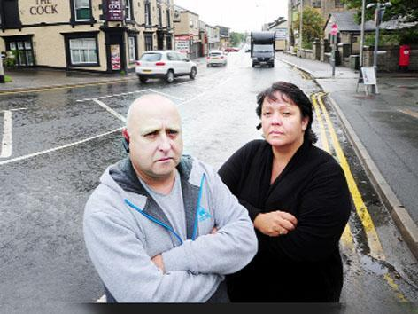 Barbara Quinn and partner Andy Campbell who saw a man being hit by a car in Duckworth Street, Darwen