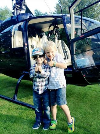 The two Sams get ready to enjoy their helicopter ride