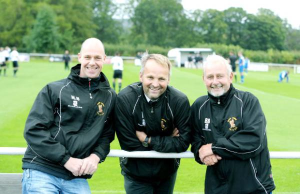 Neale Brown, Ian Burton and Barry Bolton at Hurst Green's pitch