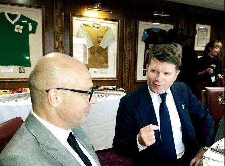 Dave Brailsford (left) chats to the ambassador