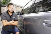Ansar Miah with his scratched car in Burns Street, Burnley