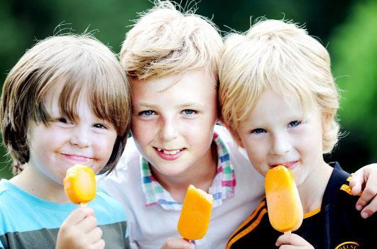 Cooling off with a refreshing lolly in Rhyddings Park, Oswaldtwistle, are from left: Alex Francis, six, Sam Lees, 10 and Lucas Jones, five Photograph: Paul Heyes