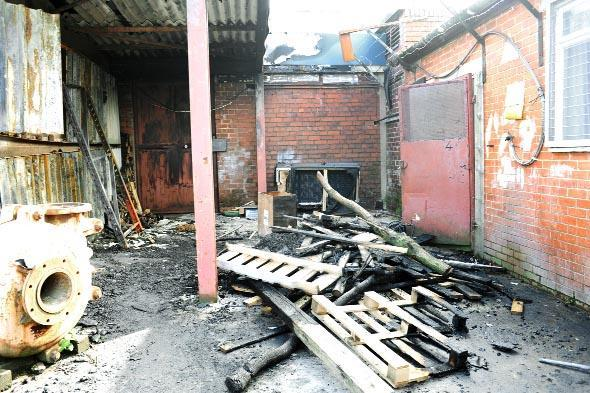 The car repair garage in New Hall Street, Burnley damaged in a blaze
