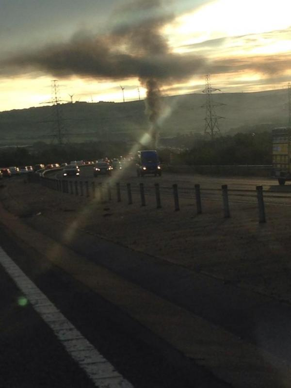 Morning delays after M65 van fire