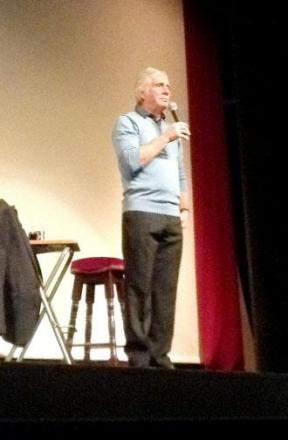 Alan Godfrey on stage at the Todmorden Hippodrome Theatre