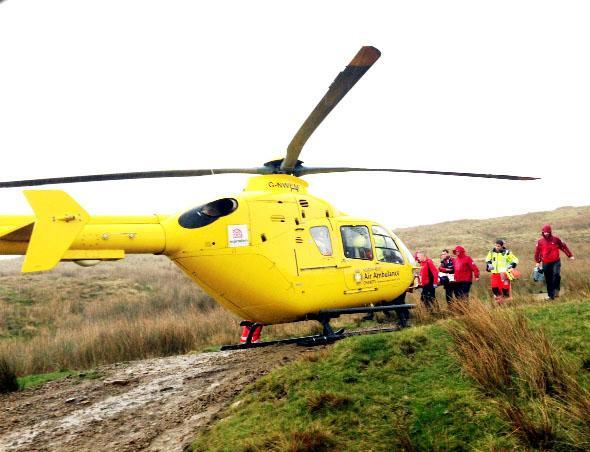 The teenage boy was flown to Royal Manchester Children's Hospital in the air ambulance