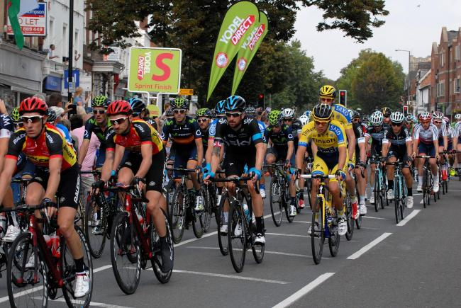 Sir Bradley Wiggins, pictured centre in Sky jersey, during The Tour of Britain