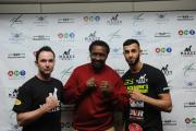Thomas 'Hitman' Hearns poses for a picture with Kevin Maree and Qasim Niaz