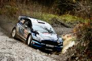 Daniel Barrit and Elfyn Evans on their way to fifth place in Rally GB, the final round of the WRC season