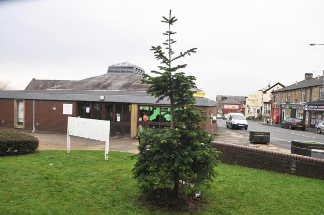 Vandals have attacked and damaged the Christmas tree next to Rishton Library, in High Street, angering local officials and residents