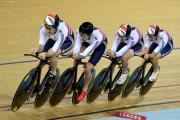 GB SQUAD: Steven Burke, right, in action for the Great Britain Team Pursuit squad during the World Cup meeting in London
