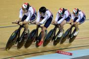 Great Britain's Mark Christian, Owain Doull, Andrew Tennant and Steven Burke in action during the Men's Team Pursuit final.