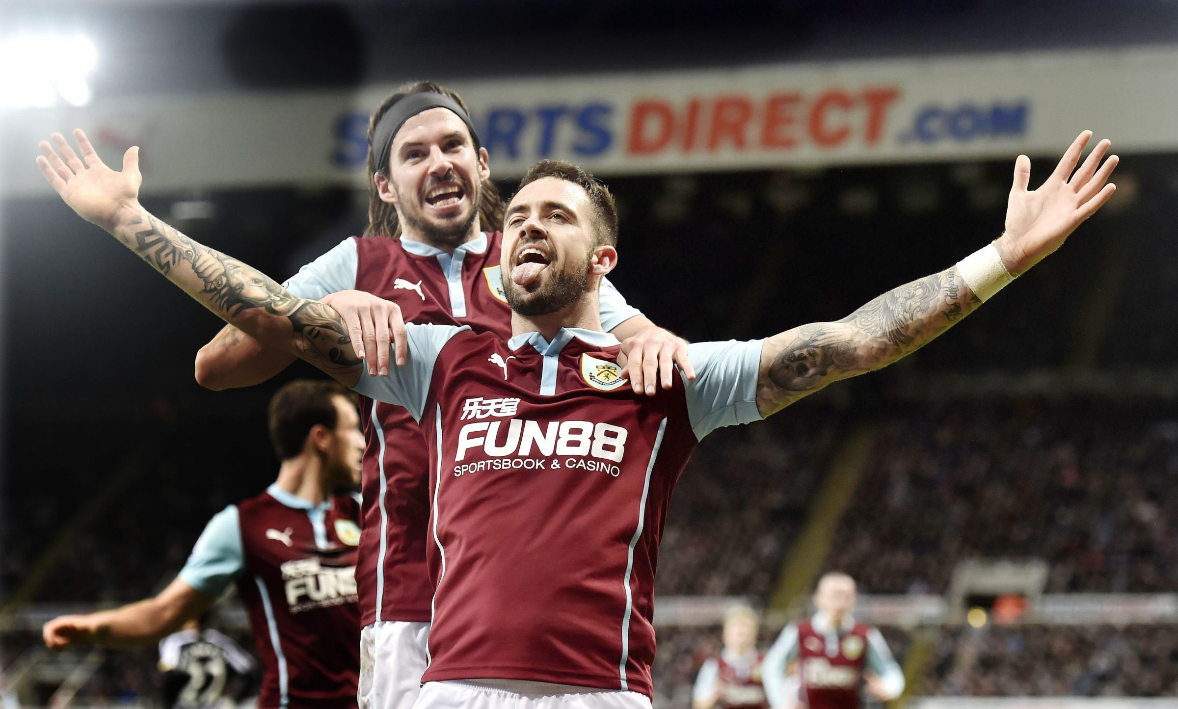 WANTED MAN: Burnley's Danny Ings, celebrating his goal against Newcastle, could soon be the subject of a bid from Tottenham Hotspur