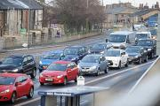 Queuing traffic on Padiham Road
