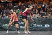 WIN: Laura Massaro in action against Salma Hany Ibrahim at the Tournament of Champions in New York Picture: SQUASHPICS
