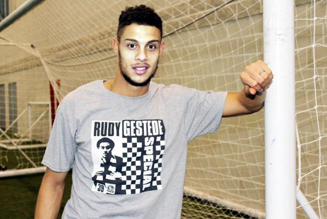 Rudy Gestede, wearing the 'Special' T-shirt made in his honour