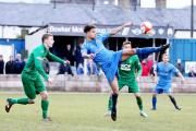 EYE ON THE BALL: Action from Clitheroe's 1-1 draw with Burscough at Shawbridge