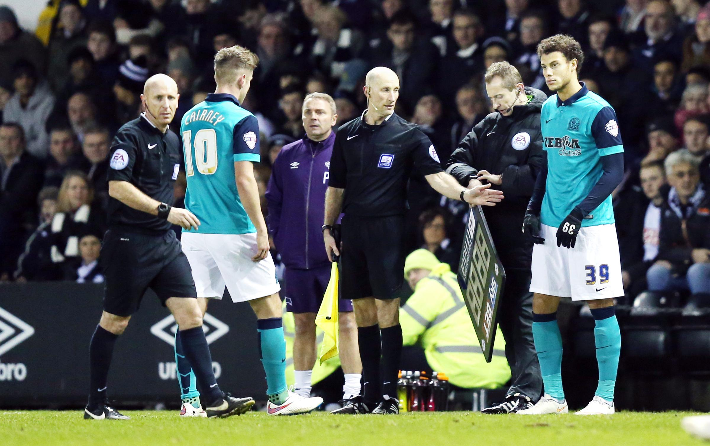 Rudy Gestede came on as a substitute for the injured Tom Cairney in Tuesday's loss at Derby County but later went off injured himself
