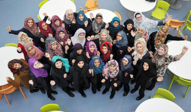 Shamim Behesht-Women and girls wear the hijab during the World Hijab Day event at Pleckgate High School, Blackburn