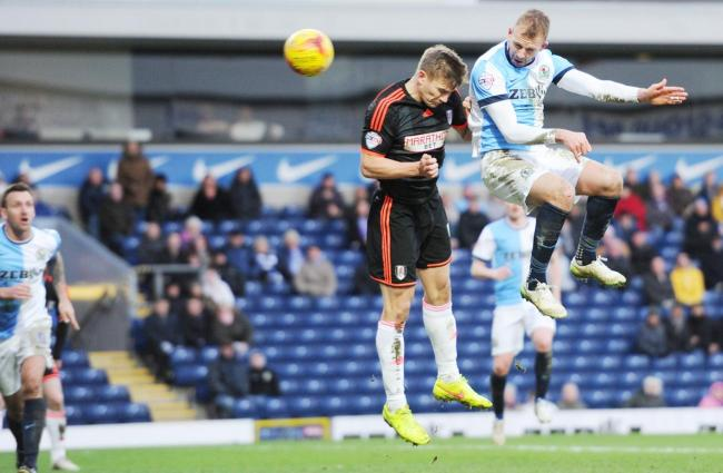 Jordan Rhodes heads in Rovers' second goal on Saturday