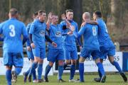 WRIGHT STUFF: Nelson players celebrate going 2-0 up with goalscorer Peter Wright (centre)           Pictures: KIPAX