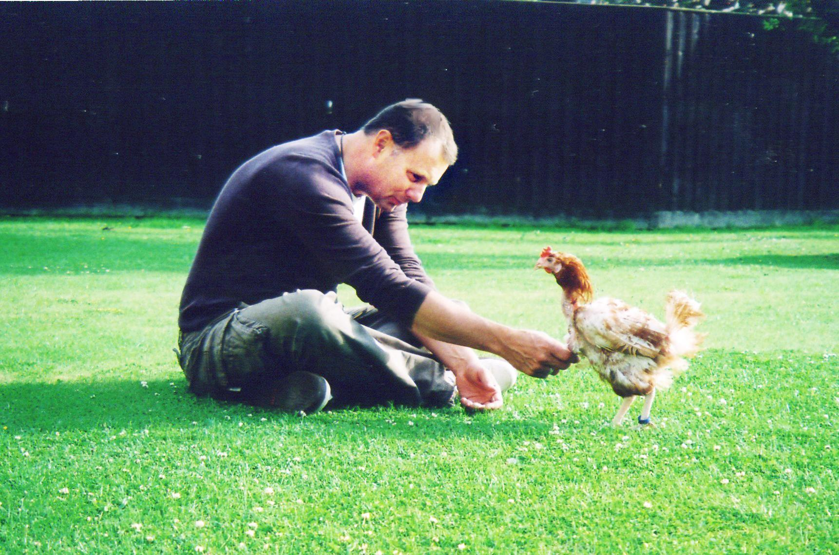 EGG-CITED: Steve Knight and Hughsie the hen