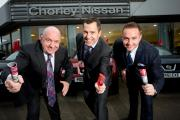 POISED: Andrew Turner, managing director of the Chorley Group (left), with Alistair Bradley and Adam Turner