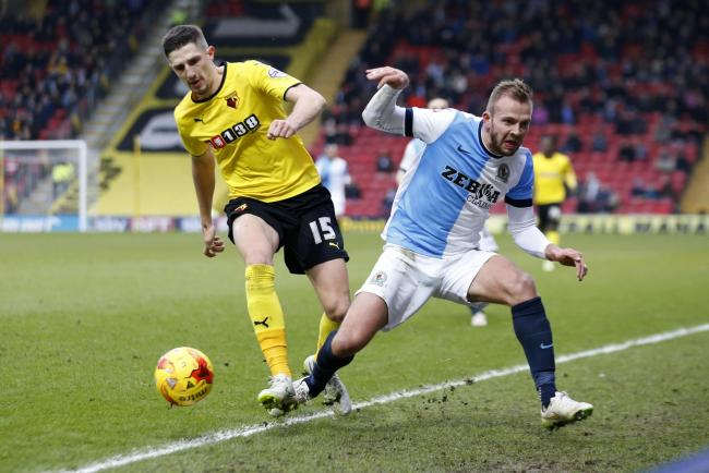 Jordan Rhodes battles for the ball against Watford