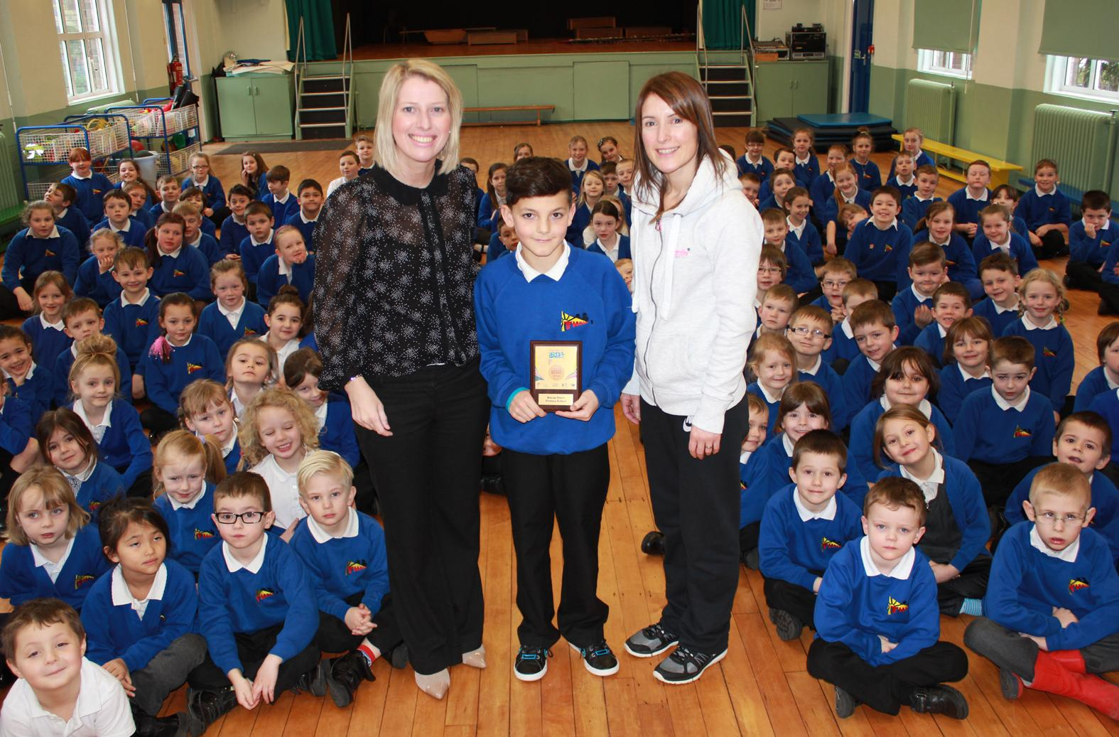 AWARD: Youth Sport Trust's Stacey Mullock, Rory Haigh and Thorn  teacher Nadya Carter