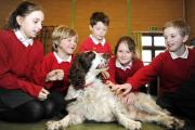 POOCH POWER: Children including Charlotte Hanson, Max Harper, Kitt Nelson, Maddie Sutcliffe, James Hebden took lessons with Moses the dog