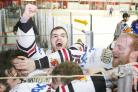 JOY: Blackburn Hawks players celebrate winning the league after their 6-2 victory over the Sheffield Spartans at the weekend