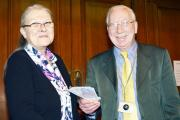 Cllr Ron O'Keeffe gave the money to Ros Duerden who manages the foodbank